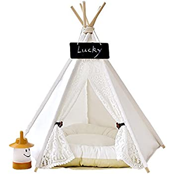 Pet Teepee Dog & Cat Bed - Dog Tents & Pet Houses With Cushion & Blackboard , 24 Inch , Up to 15lbs ,White,Lace Style