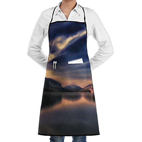 Marian Van Bib Apron Lake Sunset Spain Nature Waterdrop Resistant With Pockets Cooking Kitchen Aprons For Women Men Chef by Marian Van