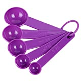 uxcell® Plastic Home Kitchen Tea Soup Coffee Measuring Spoon Set 5 in 1 Purple