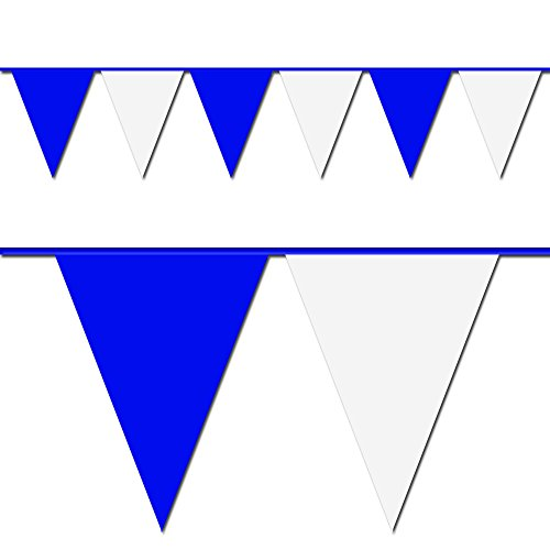 Blue and White Triangle Pennant Flag 100 Ft. ()