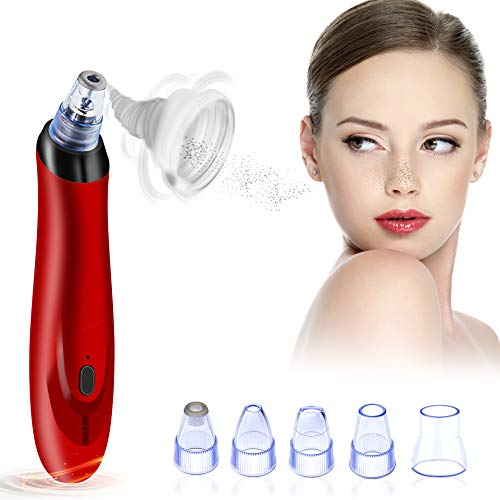 Blackhead Remover Pore Vacuum Extractor, 5- in-1 Electric Blackhead Vacuum Suction USB Rechargeable 3 Adjustable Strength Beauty Exfoliators Comedone Machine Pore Cleanser for Acne Facial Pore Clean