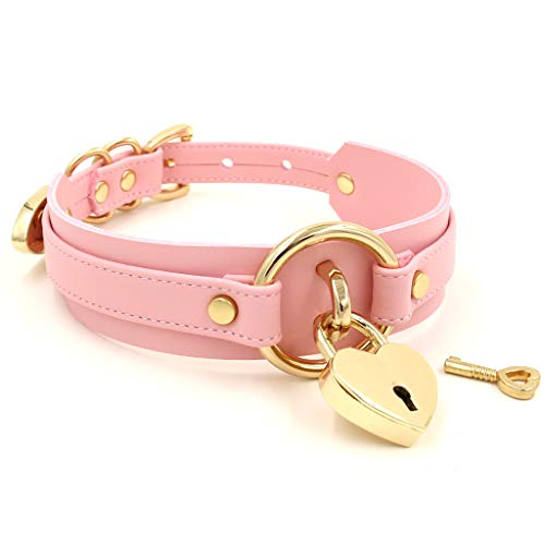 Handmade Heart Lock O Ring Thick Faux Leather Choker Collar Necklace (Pink with Gold Alloy)