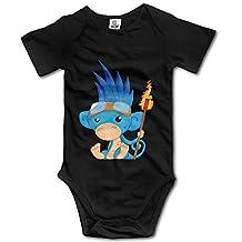 Newborn Cute Monkey Burning Man Symbol Short Sleeve Bodysuit Rompers White