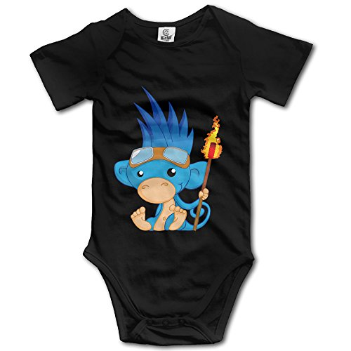 Newborn Cute Monkey Burning Man Symbol Short Sleeve Bodysuit Rompers Black