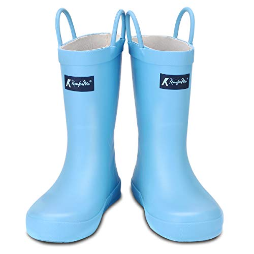 KomForme Kids Rain Boots, Waterproof Rubber Matte Boots with Reflective Stripes and Easy-on Handles - Matte Blue Stripes