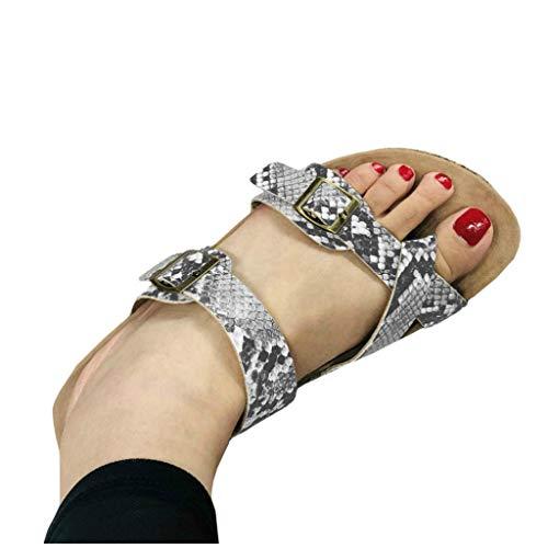 (LAICIGO Women's Gladiator Sandals Ankle Buckle Crisscross Thong Flip Flop Strappy Summer Flat Shoes (42 EU - 11 B(M) US, 5-White Snake))