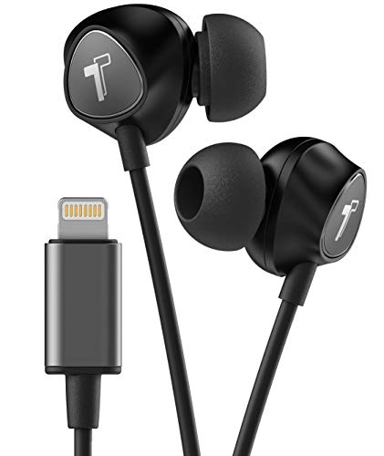Thore Wired iPhone Headphones with Lightning Connector Earphones - MFi Certified by Apple Earbuds (Black) Wired in Ear w/Remote Microphone Volume (w/Mic) for iPhone XR, XS Max (Retail Packaging)