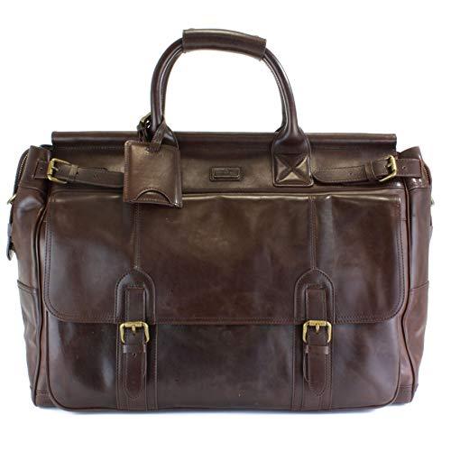 Italian Vegetable Tanned Leather Framed Weekender, Adjustable Shoulder Strap, British Belt Co. Lanlay Collection ()