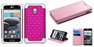 Combo pack ASMYNA Hot Pink/Solid White Luxurious Lattice Dazzling TotalDefense Protector Cover for LG D500 (Optimus F6) LG MS500 (Optimus F6) And MYBAT Pink MyJacket Wallet(with Tray)(565) (with Package) for LG D500 (Optimus F6) LG MS500 (Optimus F6)