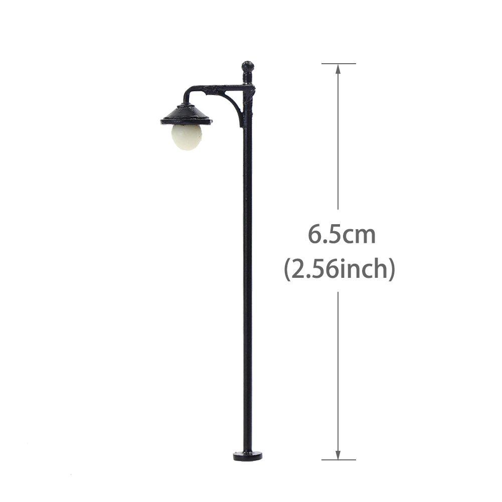 LYM22 10pcs Model Railway Train Lamp Post Street Lights HO OO Scale LEDs NEW by Evemodel (Image #5)