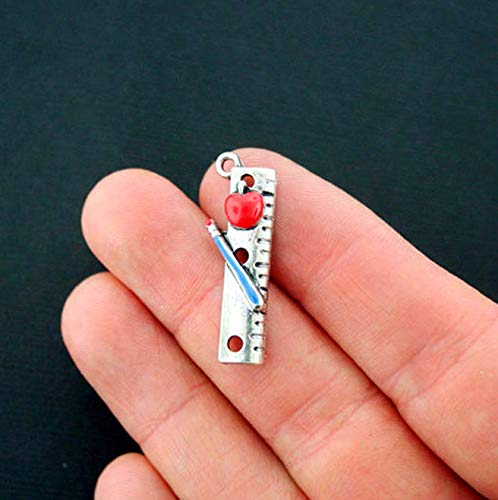 (5 Apple Ruler Charms Silver Plated Enamel Fun and Colorful Pencil Vintage Crafting Pendant Jewelry Making Supplies - DIY for Necklace Bracelet Accessories by CharmingSS)