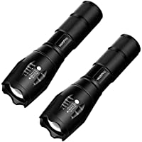 2-Pack WdtPro Tactical Ultra Bright Tac Flashlight with 5 Modes, Adjustable Focus and Water Resistant for Emergency Camping Hiking