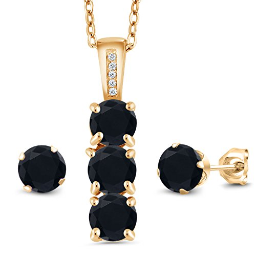 Gem Stone King 2.35 Ct Black Onyx White Diamond 18K Yellow Gold Plated Silver Pendant Earrings Set
