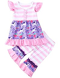 Littler Baby Girls Floral Outfits Flower Tee Tops Flutter Sleeve Cute Pink Stripes Long Pants Clothing Set
