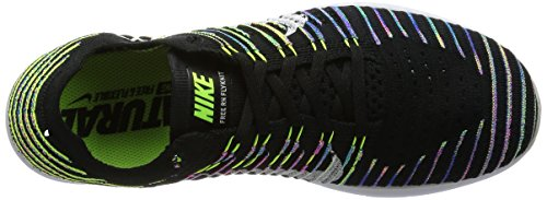 NIKE Free RN Flyknit Mens Running Trainers 831069 Sneakers Shoes (US 12, Black White Volt Blue Lagoon 003)