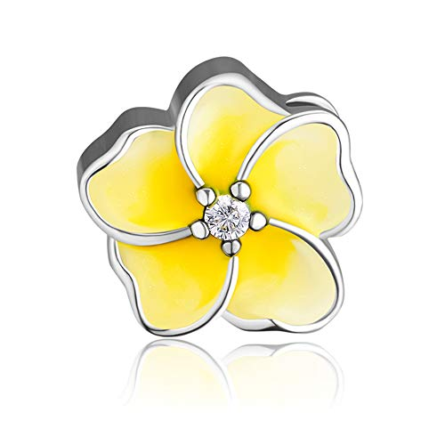 CKK Charm 925 Sterling Silver Bead Fit Pandora Bracelet Gradient Yellow Plumeria Charm Women DIY Jewelry Gift