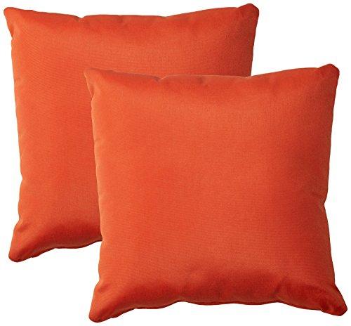 TK Classics Square Outdoor Throw Pillows, Set of 2, Tangerine