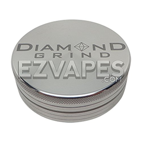 Diamond Grind 2 Piece Aluminum Colored Herb Grinder Extra Large (Silver) (Extra Large Grinder compare prices)