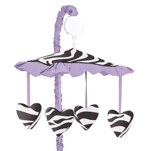 (Sweet Jojo Designs Purple Funky Zebra Musical Baby Girls Crib Mobile)