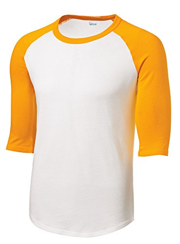 Mens Or Youth 3/4 Sleeve 100% Cotton Baseball Tee Shirts Youth S to Adult 4X WH/GLD-S ()