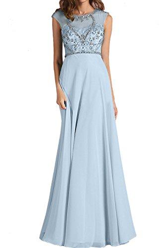 Lang Blau Chiffon Damen Neu Partykleider Abendkleider Hellblau Rund Ivydressing Stein Paillette Promkleider qfATT