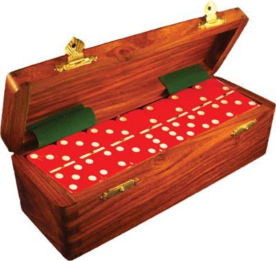 Domino Double Six rosso in Dovetail Jointed Sheesham Wood Box - Jumbo Tournament Dimensione w Spinners by Marion