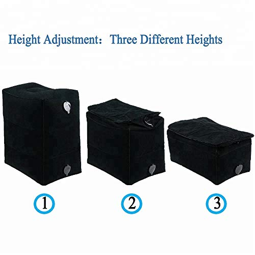 Height Adjustable 17 Inch Foot Rest for Travel, Airlines, Desk. Inflatable Pillow of Durable, Safe PVC with Double Air Valves & 3 Layers. Supports Back, Legs. Improves Circulation, Thrombosis