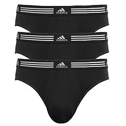 adidas Men\'s Athletic Stretch 3-Pack Brief Black/Black LG