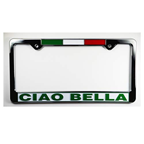 Ciao Bella with Flag License Plate Plastic Frame - Italy Collection of Italian Pride Products at PSILoveItaly