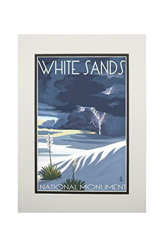 White Sands National Monument  New Mexico   Lightning Storm  11X14 Double Matted Art Print  Wall Decor Ready To Frame