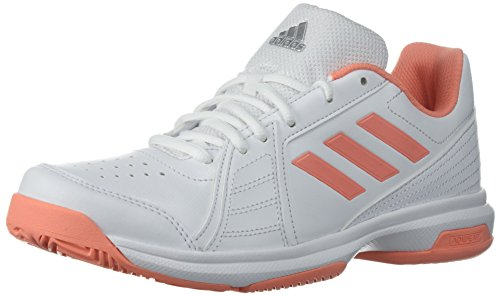adidas Women's Aspire Tennis Shoe, White/Chalk Coral/Metallic Silver, 10 M US