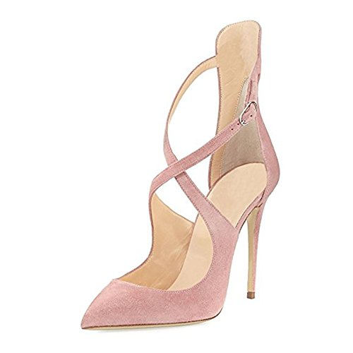 onlymaker Toe Pumps Pointed Suede Ankle Ladies Strappy Strap Dress Crisscross Wedding Party Heels Shoes High Pink Stiletto Women's 1rgn8qx1