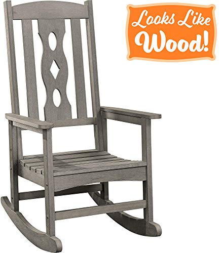 PolyTEAK Curved Poly Outdoor Rocking Chair, Stone Gray Adult-Size, Weather Resistant, Porch and Patio Rocker