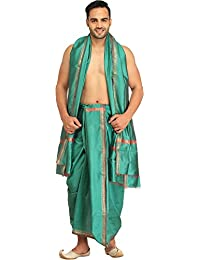 Exotic India Dhoti and Angavastram set with Golden Wove