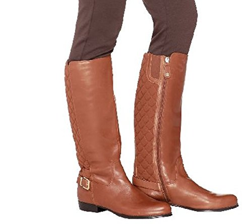 Isaac Mizrahi Live! Womens Tally Leather Knee-High Boot Brown EzeVkXSEd