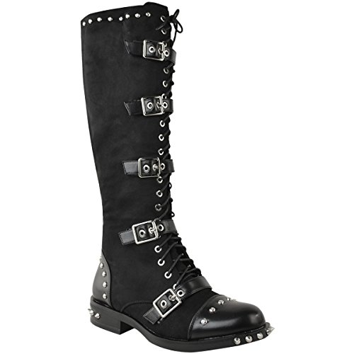 Fashion Thirsty Womens Knee High Studded Punk Grunge Spiky Winter Boots Size