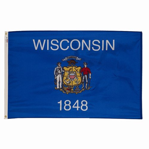EHT Flags 3x5 Wisconsin State Flag American Made Superior Outdoor Nylon