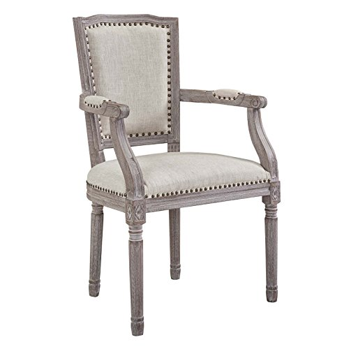 Modway EEI-2606-BEI Penchant Vintage French Upholstered Fabric Dining Armchair, Fully Assembled 37.5 Beige