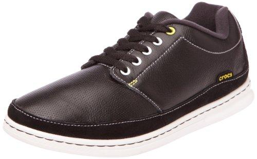 Crocs Mens Lopro Läder Spets-up Sneaker Svart / Vit