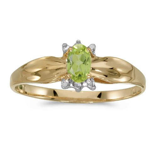 0.20 Carat ctw 14k Gold Oval Green Peridot Solitaire & Diamond Engagement Fashion Ring Polished Finish - Yellow-gold, Size 13