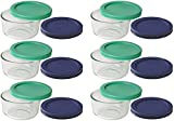 Pyrex Storage 1 Cup Round Dish, Clear with Green + Blue Lids, Pack of 6 Containers