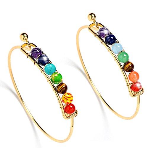 (Bling Toman Gold Chakra Bracelets Healing Bracelets for Women Girl Gemstone Bracelets Beaded Bracelets Open Cuff Bangles Bracelets (Gold 2 PCS))