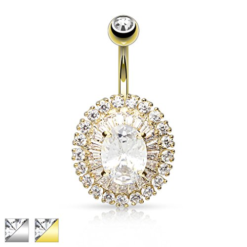 Inspiration Dezigns 14G 3-Tier Paved CZ Dandelion with Oval CZ Center 316L Surgical Steel Navel Ring (Gold)