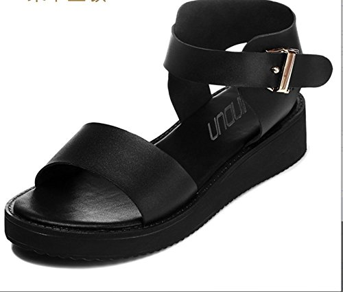 With Xing Students Summer Ladies Casual Sandals Trend Fashion Summer Lin Sandals Comfortable Fashion Shoes Black Leather New Flat 0r0qU8R