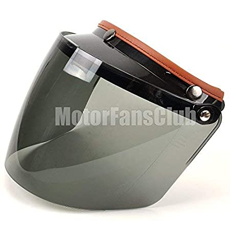 MOTORFANSCLUB Universal 3 Snap-Button Waterproof Visor Lens Motorcycle Open Face Helmet Flip-up Shield (Dark Smoke)