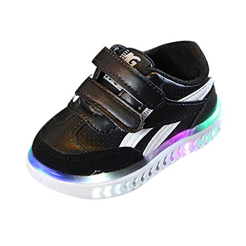 Tantisy ♣↭♣ Toddler/Little Kid Boy and Girl Classic Adjustable Strap Sneaker/LED Luminous Sport Shoes/Fashion Athletic Shoes Black