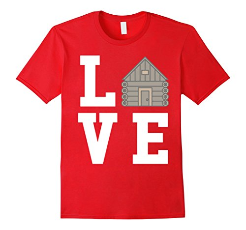 Cabin Log Red (Mens I Love Camping Log Cabin - Camp T-Shirt 2XL Red)