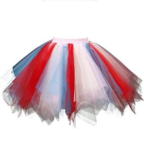 Dressever Vintage 1950s Short Tulle Petticoat Ballet Bubble Tutu Red/Blue/White Small/Medium