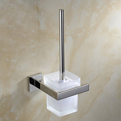 XY&XH Toilet Brush Holder , Contemporary Mirror Polished Wall Mounted Toilet Brush Holder , Silver