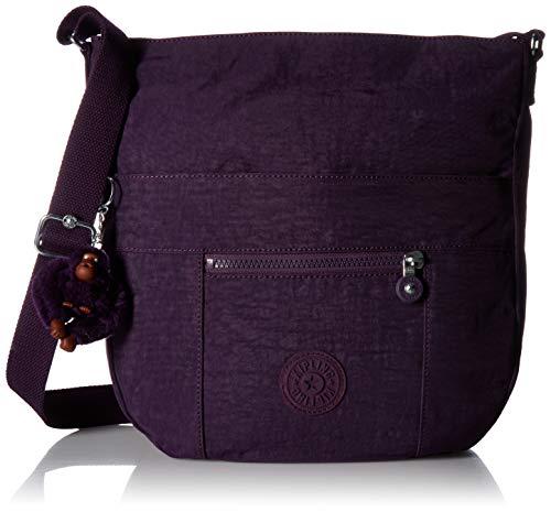 Bailey Bags By (Kipling Bailey Saddle Bag, Adjustable Crossbody Strap, Zip Closure, Deep Purple)